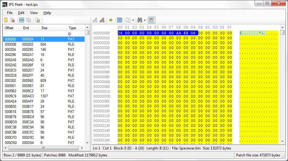 Romhacking net - Utilities - IPS Peek