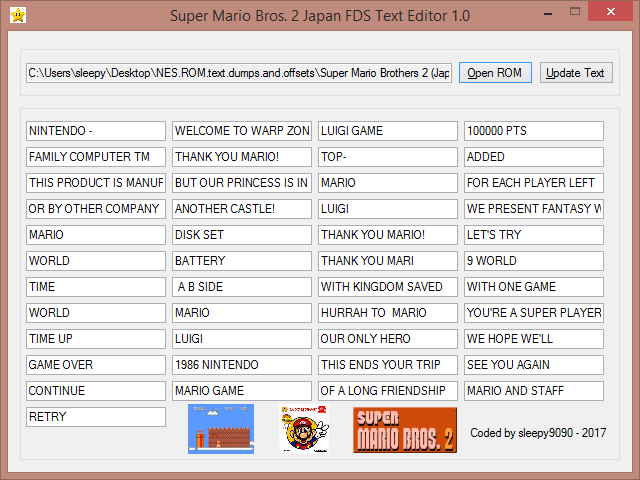 Super Mario Brothers 2 Japan FDS Text Editor