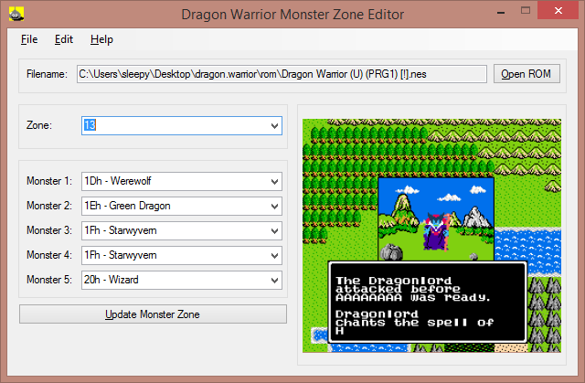 Dragon Warrior Monster Zone Editor