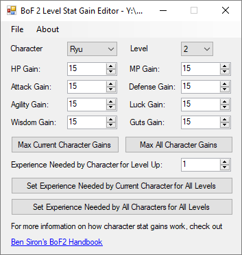 Breath of Fire II Level Stat Gain Editor