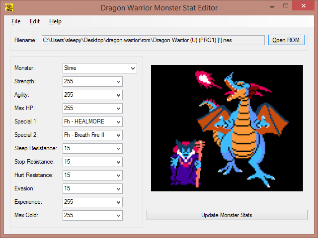 Dragon Warrior Monster Stat Editor