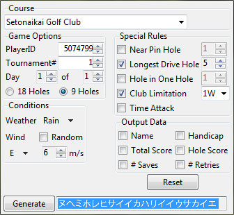 Japan Pro Golf Tour 64 Network Tournament Password Generator