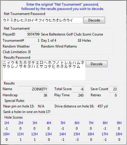 Japan Pro Golf Tour 64 Results Password Decoder